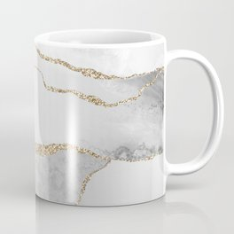 Watercolor Agate in Monochrome with Faux Gold Veins Coffee Mug