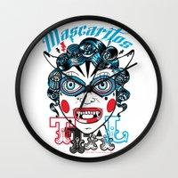 peru Wall Clocks featuring Mascaritos PERU by Tonton AL