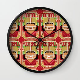 American Football Red and Gold - Hail-Mary Blitzsacker - Indie version Wall Clock