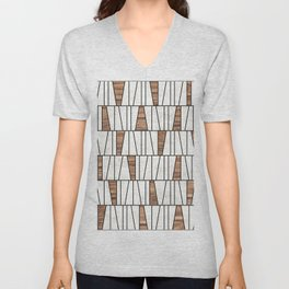 Mid-Century Modern Pattern No.4 - Concrete and Wood Unisex V-Neck