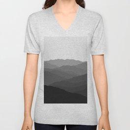 Shades of Grey Mountains Unisex V-Neck