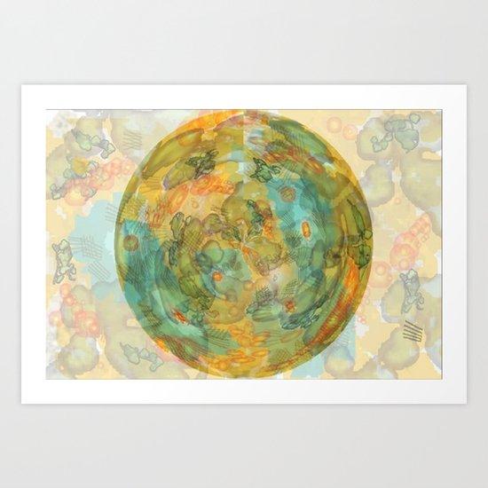 watercolor globe Art Print