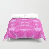 floral pattern Duvet Covers featuring Fuchsia Pink Antique Floral Pattern by 2sweet4words Designs