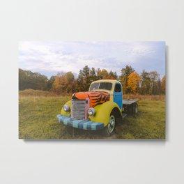 Old truck on the roadside, Massachusetts USA   Nature Landscape Travel Photography   Wall Art Decor Metal Print