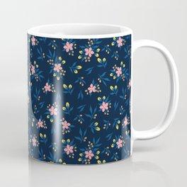 Pink Florals on Blue Coffee Mug