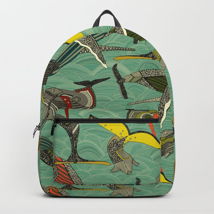 whales and waves jade Backpack