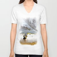 boat V-neck T-shirts featuring Boat by Gouzelka