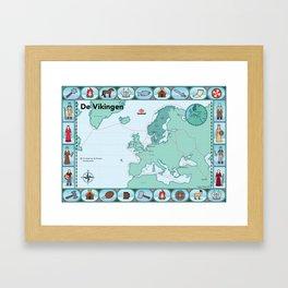 Geïllustreerde kaart van de Vikingen Framed Art Print