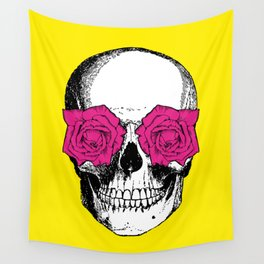 Skull and Roses | Skull and Flowers | Vintage Skull | Yellow and Pink | Wall Tapestry