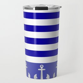 Blue And White Stripes Anchor Travel Mug