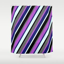 Eyecatching Orchid, Midnight Blue, Light Cyan, Black & Dim Gray Colored Pattern of Stripes Shower Curtain