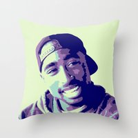 tupac Throw Pillows featuring Tupac by victorygarlic - Niki