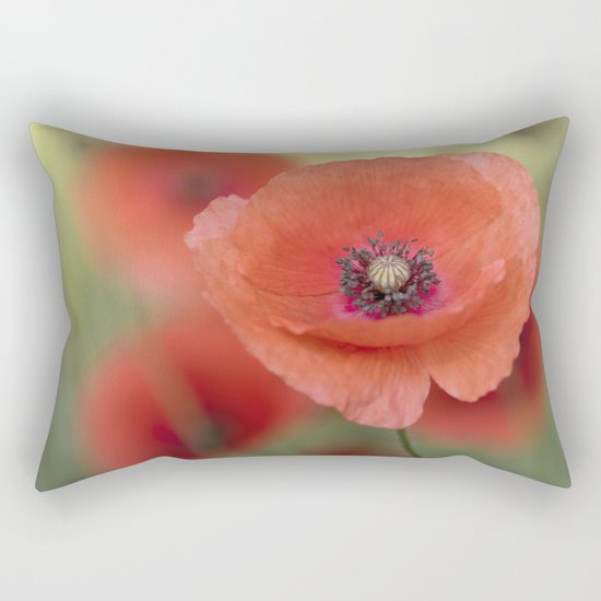 Beautiful poppy in a meadow Rectangular Pillow