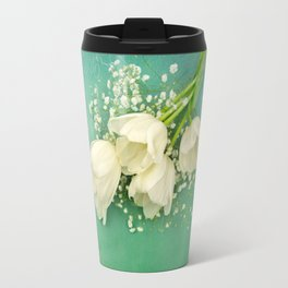 French White Tulips and Baby's Breath Flowers Bouquet Spring Botanical 2015 Travel Mug