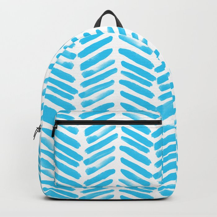 Simple Aqua and white handrawn chevron - horizontal - for your summer on #Society6 Backpack