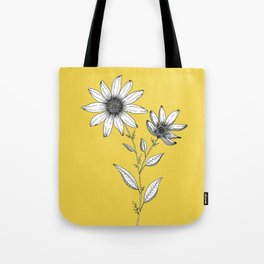 Wildflower line drawing | Botanical Art Tote Bag