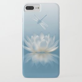 Blue Lotus and Dragonfly iPhone Case