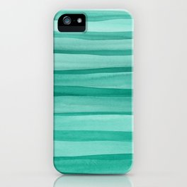 Green Watercolor Lines Pattern iPhone Case