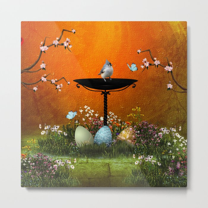 Easter eggs in the grass Metal Print