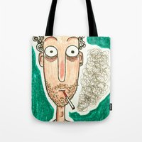 smoking Tote Bags featuring SMOKING by t i t i l l a