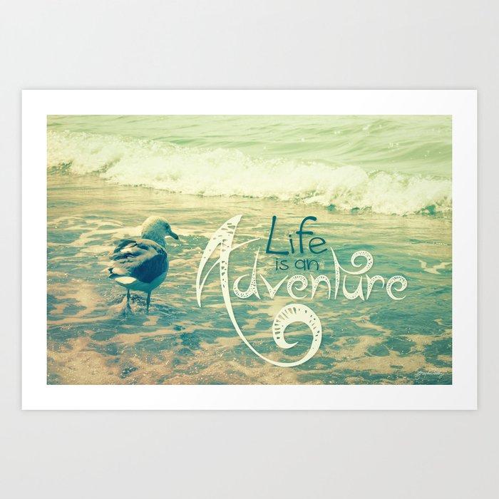 California Beach Seagull Art Print