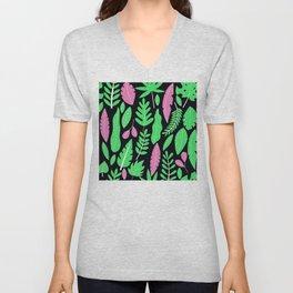 Bright Pink & Vibrant Green Palm Leaves Modern Pattern Unisex V-Neck