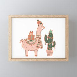 Holiday Llama Framed Mini Art Print