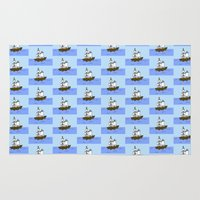 pirate ship Area & Throw Rugs featuring Pirate Ship by Isobel Woodcock Illustration