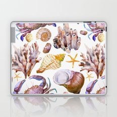 Crab & Coral Watercolor Pattern Laptop & iPad Skin
