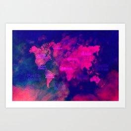 world map 114 3D #worldmap #map Art Print