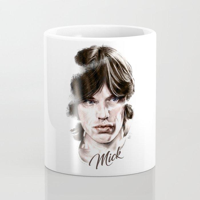 Mick portrait pencil and digital color, Rolling Stones portrait Coffee Mug