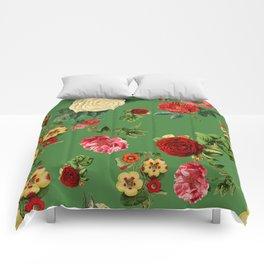 Green vintage roses Comforters