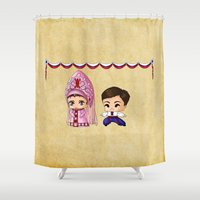 russian Shower Curtains featuring Russian Chibis by artwaste