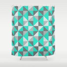 Aqua and Grey Retro Inspired Pattern Shower Curtain