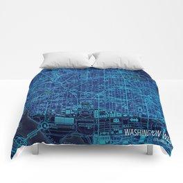 Washington West Columbia year 1945 old blue map Comforters