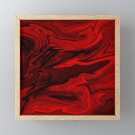 Blood Red Marble Framed Mini Art Print