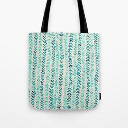 Hand Painted Herringbone Pattern in Mint Tote Bag