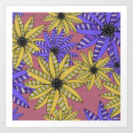 Blue and Yellow Striped Sketch Flowers Illustrated Pattern Art Print