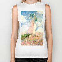 monet Biker Tanks featuring Claude Monet : Woman With A Parasol by PureVintageLove