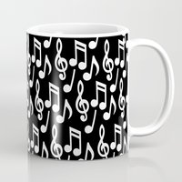 music notes Mugs featuring Black & White Music Notes by Designs by Aryel