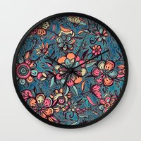 spring Wall Clocks featuring Sweet Spring Floral - melon pink, butterscotch & teal by micklyn