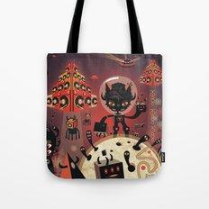 DJ Hammerhand cat - party at ogm garden Tote Bag