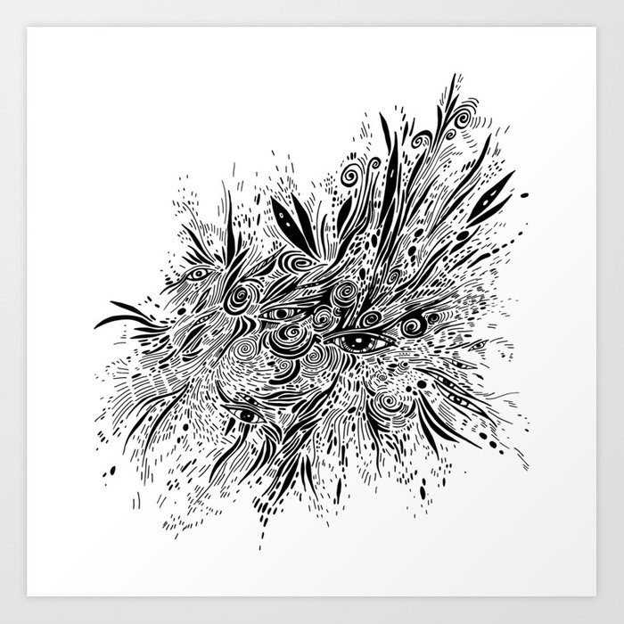Eye Doodle Abstract Sketch With Eyes Art Print By Arinasavelieva
