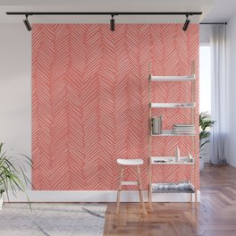Living Coral Herringbone Happiness Wall Mural