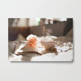 Tea Time with a good book Metal Print