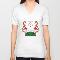 okami V-neck T-shirts featuring Baby Okami by Murphis the Scurpix