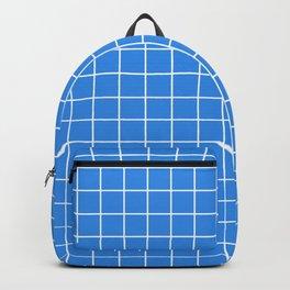 Bleu de France - blue color - White Lines Grid Pattern Backpack