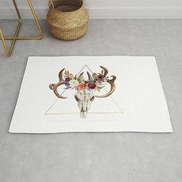 Geometric tribal floral bull skull Rug