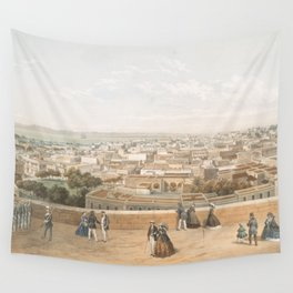 Vintage Pictorial Map of San Juan PR (1860) Wall Tapestry