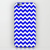 chevron iPhone & iPod Skins featuring Chevron (Blue/White) by 10813 Apparel